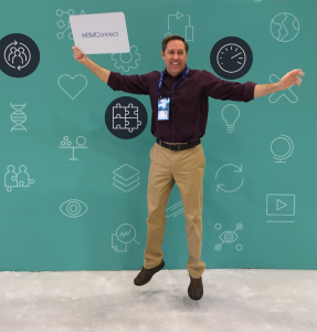 Alan Forbes jumping in joy at the IBM Connect conference